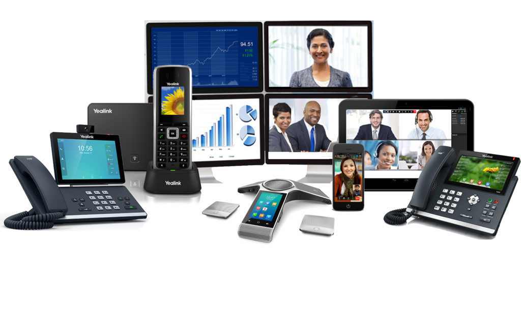 A business phone system suite of applications including IP phones, business enterprise app with video chat, and video conference calling from mobile phones and tablets.