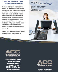 Virtual PBX system trifold brochure with free trial offer