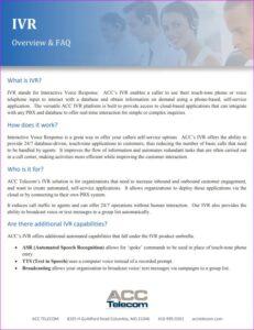ACC Telecom's Interactive Voice Response IVR Brochure