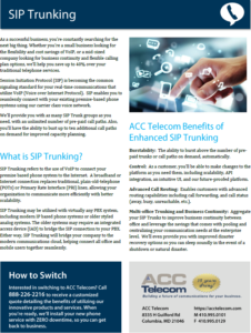 Sip Trunking brochure for businesses in Maryland, Washington DC, and Virginia that are interested in SIP Trunks