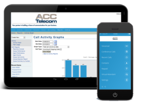 ACC Telecom Cloud Phone System technology shown on a tablet and smartphone in Columbia, Maryland