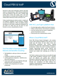 ACC Telecom's quick reference guide for Cloud Phone System features for businesses in Columbia, MD, Washington DC and Virginia.