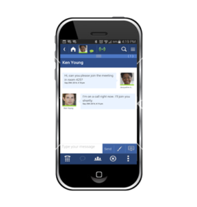 smartphone with business instant messaging on screen