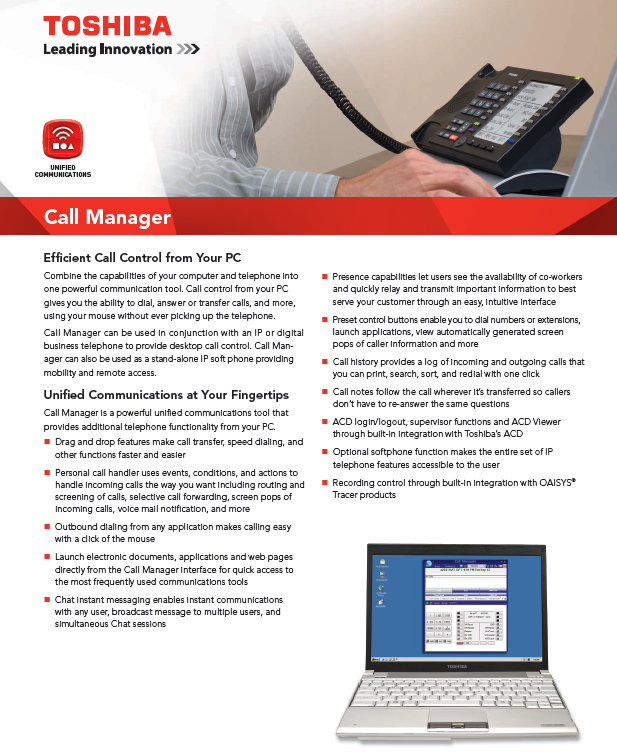 Call Manager Toshiba Call Control From Your Computer
