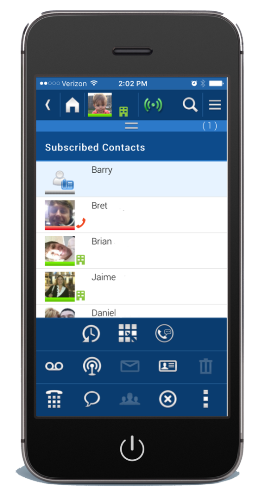 iphone screen shot of toshiba unified communications smartphone application
