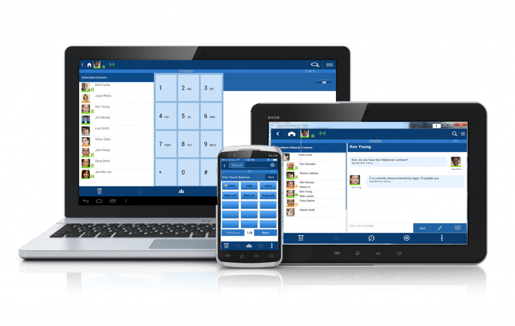 laptop, tablet and cell phone with unified communications application on the screens.