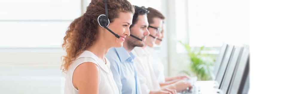 call center agents taking calls using toshiba phone system