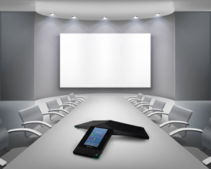 conference room with projector screen and polycom conference phone in Washington DC