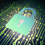 Data security concept: circuit board with Metal Closed Padlock icon, 3d render symbolizing internet cyber security