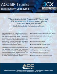 ACC Telecom SIP Trunks brochure for on-premise business phone systems