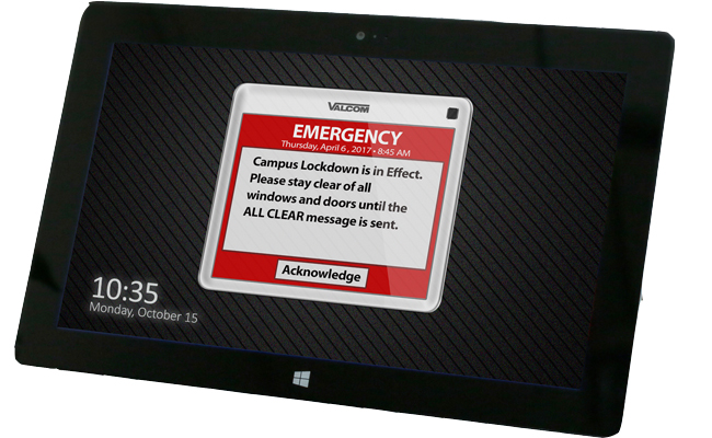 Mass Notifications System blast out Emergency screen pops on tablet