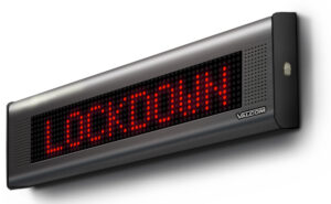 Mass Notifications Digital signage LOCKDOWN message