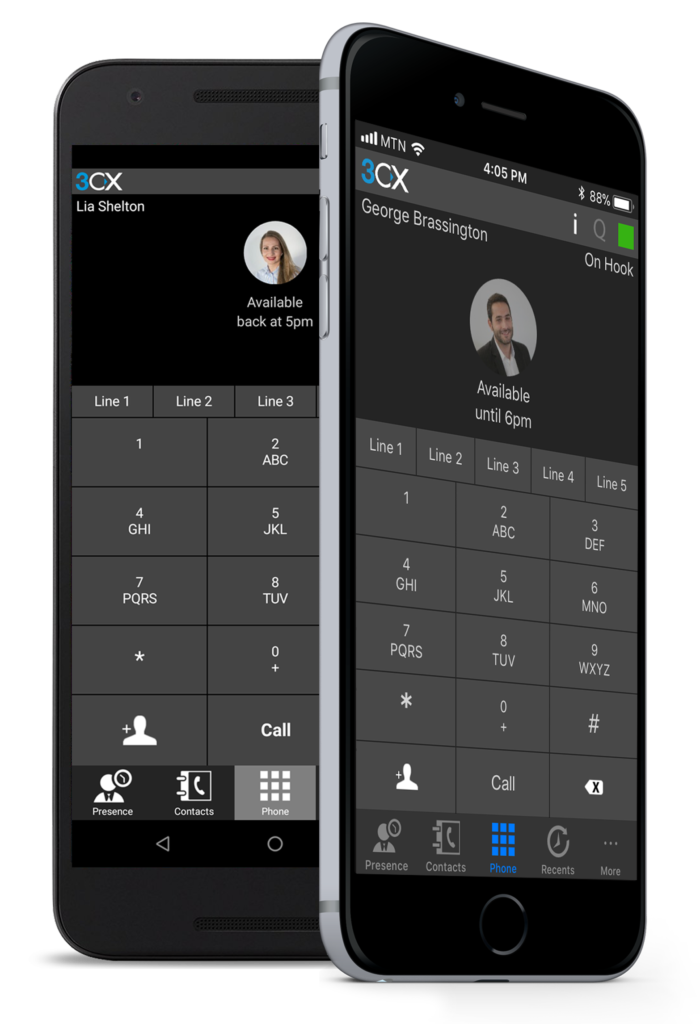 3cx ip phone system's mobile application client displayed on an iphone in Maryland