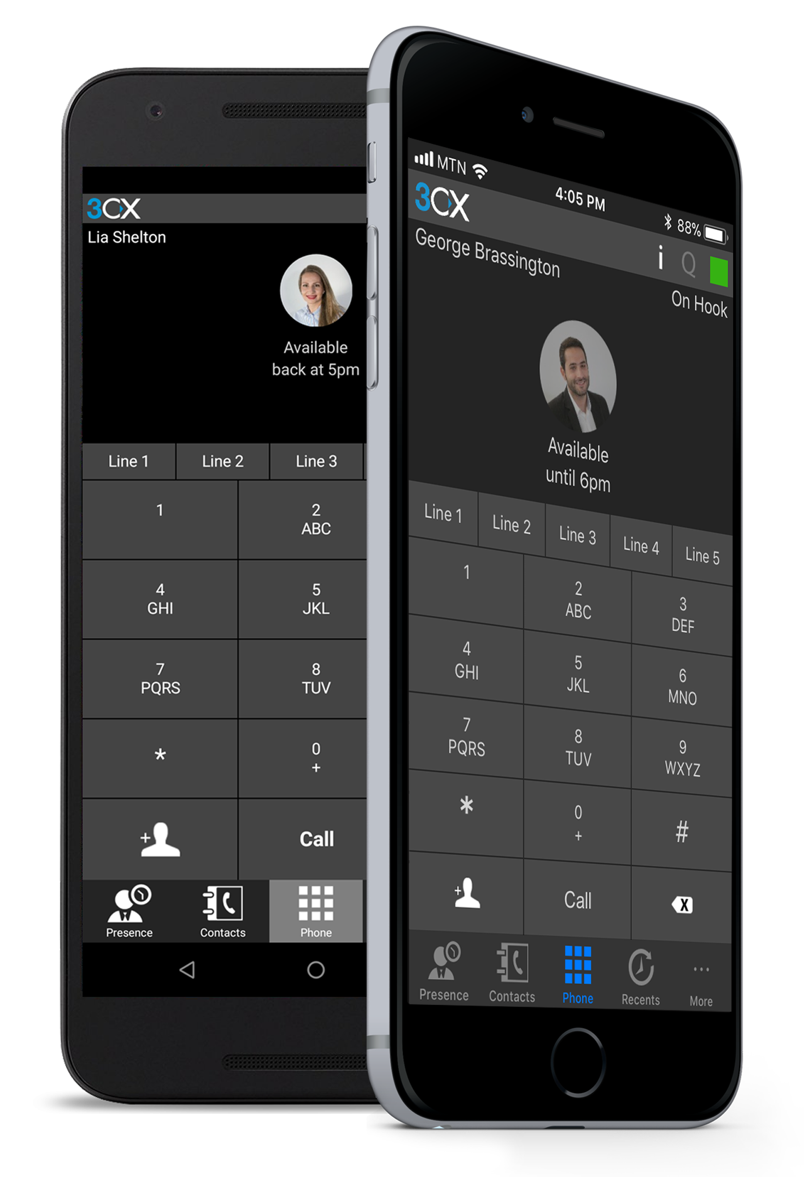 3cx ip phone system mobile application client displayed on an iphone in Maryland