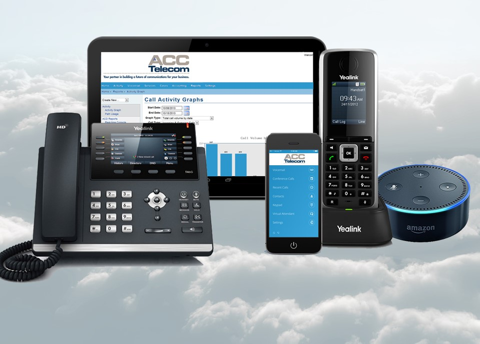 Cloud Phone System with online portal, mobile app, and other compatible devices.
