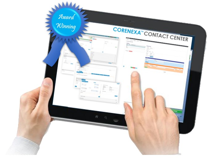ACC Telecom's CoreNexa Cloud Contact Center Omni channel software shown on tablet and available for Maryland, Washington DC, and northern Virginia businesses.