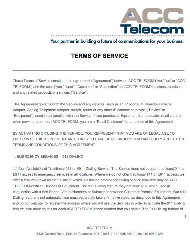 Terms of Service for our SIP Trunk service and Cloud Hosted PBX system
